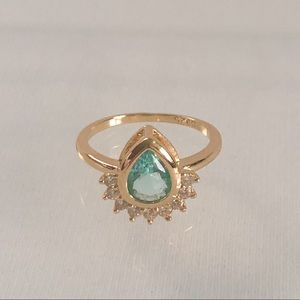 Jewelry - Gold Plated Aquamarine (Simulated) Ring